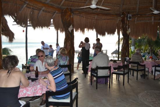 Maria's kan-kin: covered restaurant overlooking the pool and beach