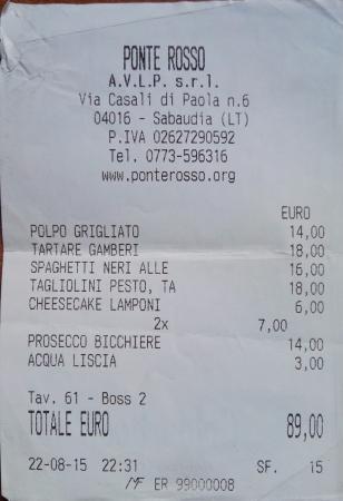 Sabaudia, Italy: Scontrino - Cena di coppia
