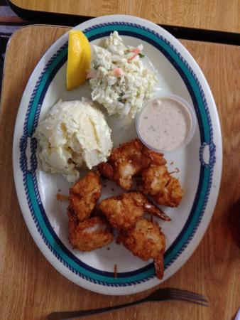 Coconut shrimp, potato salad, coleslaw - Picture of Fish Tales Market & Eatery, Marathon ...