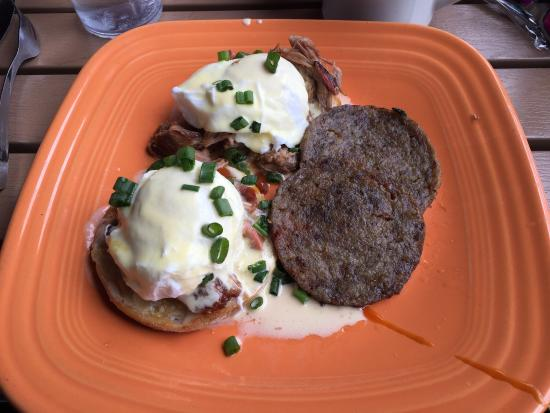 Mad Hatter: BBQ Pork Eggs Benedict substituting sausage for potatoes.