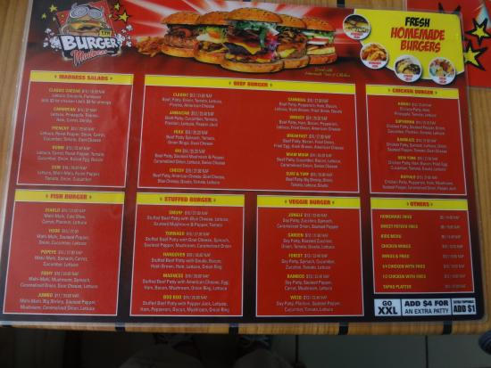 St maarten burger madness : HUGE MENUE TO CHOOSE FROM