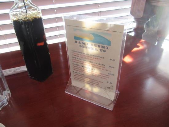 Nami Sushi: menu