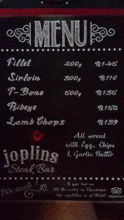 Joplins Pub and Steak Grill: Joplin's menu