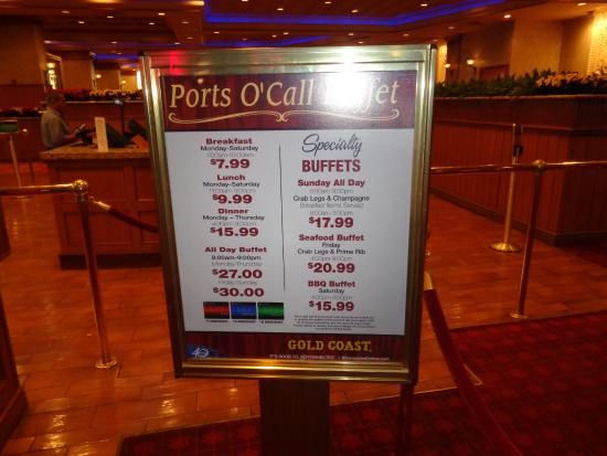 Buffet Prices Sign Picture Of Gold Coast Hotel And