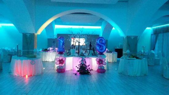 Decorazioni Sala Per 18 Anni : Festa dei anni sulle tonalità blu bianco sala ampia e decorata