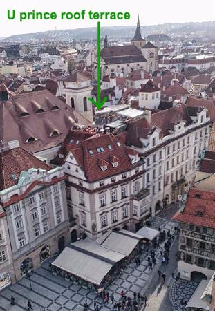 U prince roof top bar as seen from clock tower picture for Terrace u prince prague