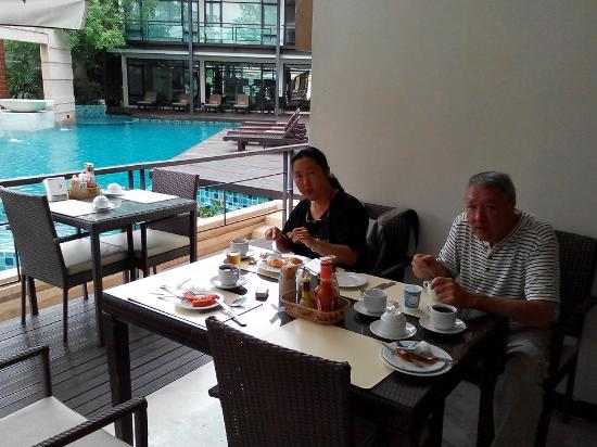The Grand Napat: open-air seating for breakfast.