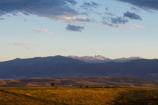 Sheridan, WY: Sunset over the Bighorn Mountains