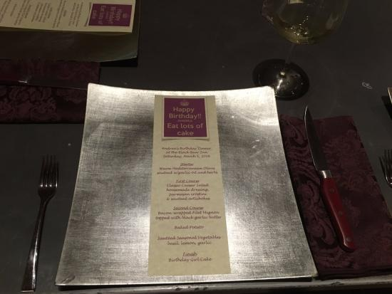 Arnold Black Bear Inn: Wendi and Bruce made me a special personalized birthday menu for our dinner!
