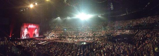 A panoramic shot taken from the wheelchair seating area at
