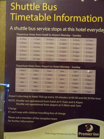 Swords, Irland: Bus times to/from Premier Inn Dublin Airport Hotel.