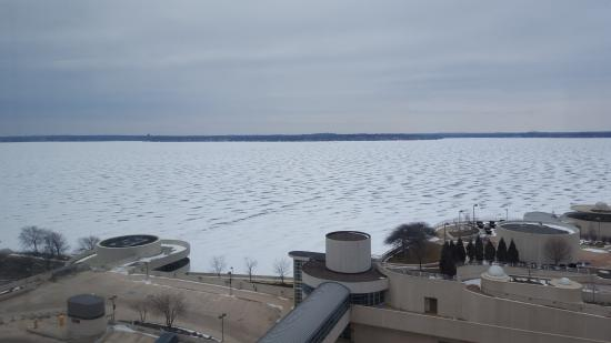 Hilton Madison Monona Terrace: View of the lake with snow on it from eight floor.