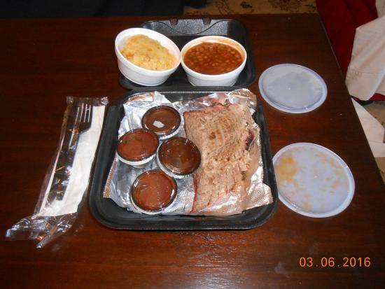 Lee Roy Selmon's: brisket, beans, corn and bbq sauces