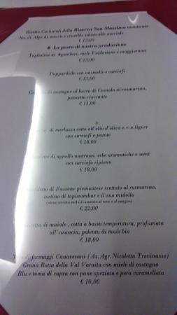 Банчетте, Италия: Parte del menu ristorante interno