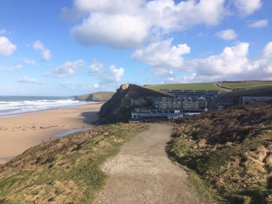Watergate Bay Hotel: View of the hotel from the cliff top path opposite.