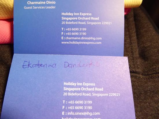 Management Business Card Katreina Picture Of Holiday Inn Express