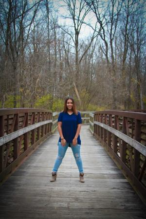 Pendleton, IN: My daughter enjoying Falls Park during a senior picture session.