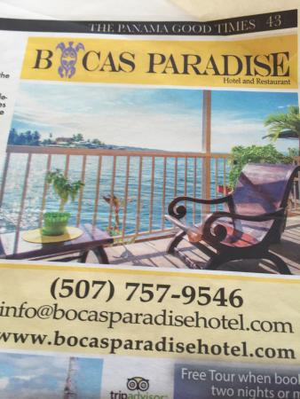 Bocas Paradise Hotel: free tour if booking 2 nights or more