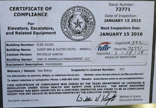 Sleep Inn & Suites: Expired Elevator Certificate