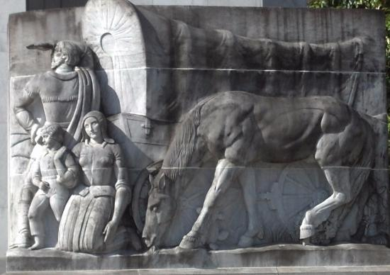 Oregon State Capitol: Frieze dedicated to the Oregon Trail pioneers