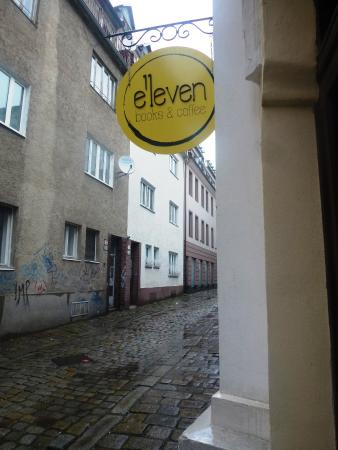 Eleven Books & Coffee: The cozy cobbledstone street where the bookstore/cafe is situated