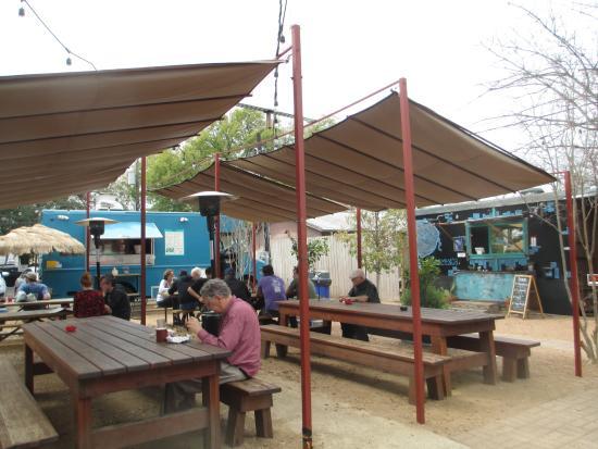 Radio Coffee Beer Food Trucks And Smoking Patio Taco Truck On Left