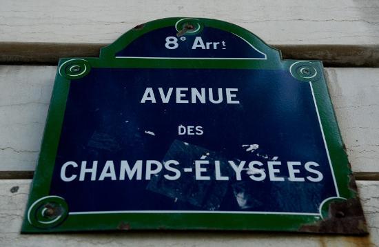 Paryż, Francja: Street sign Champs-Elysees