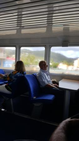 Road Town Fast Ferry : Comfortable seating with tables and views.