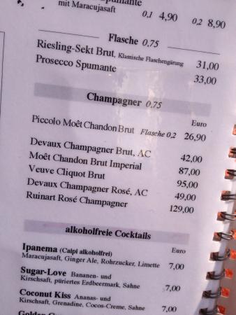 Kaffeehaus: Champagnerkarte