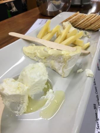 Cheese tasting platter with wine