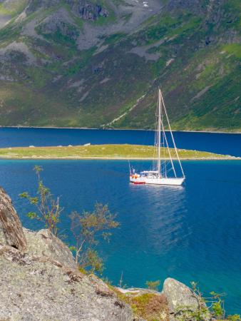 "Sommaroy, Norway: ""Southern Star"" in Ersfjorden during hiking trip. Troms wild coast"