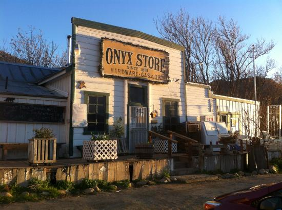Front View of Onyx Store showing sign