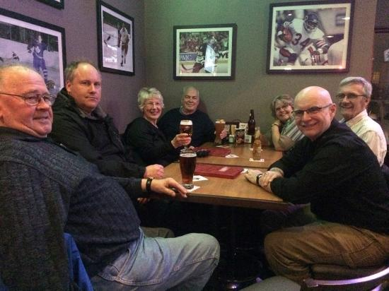 Boston Pizza: Having a beer and some fun after Pipe Band Practice.