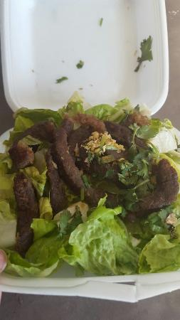 Viphalay Laos and Thai Restaurant : Bbq beef take out - very little beef - with a LOT of lettuce