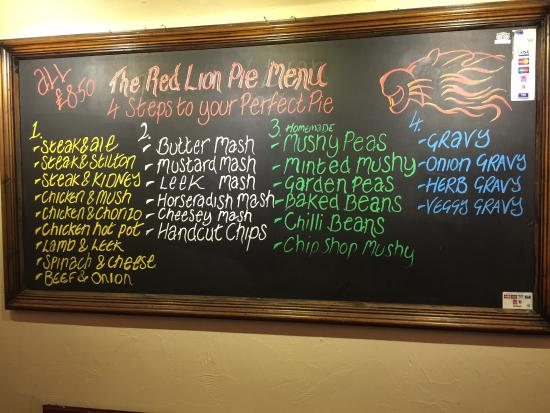 Hognaston, UK: The Red Lion  is a gem of a country pub serving great British food! This board shows you their s