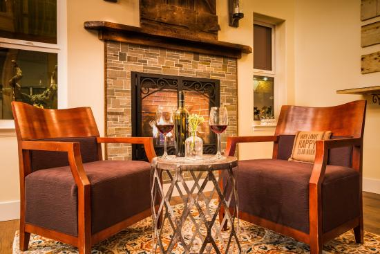 Plymouth, CA: In the Lobby by the Fire
