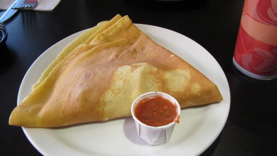 Tod Mountain Cafe: Ham, Cheese and Tomato crepe with side of salsa
