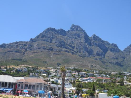 Camps Bay, South Africa: Looking up to the mountains from the beach
