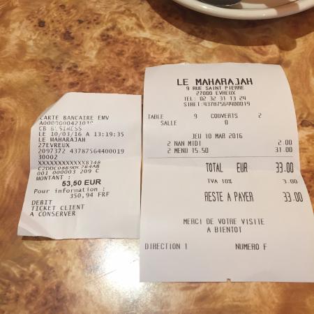 LE MAHARAJAH : menu normalement à 31€ + 2€ de nan probleme encaissement d'un menu a la carte