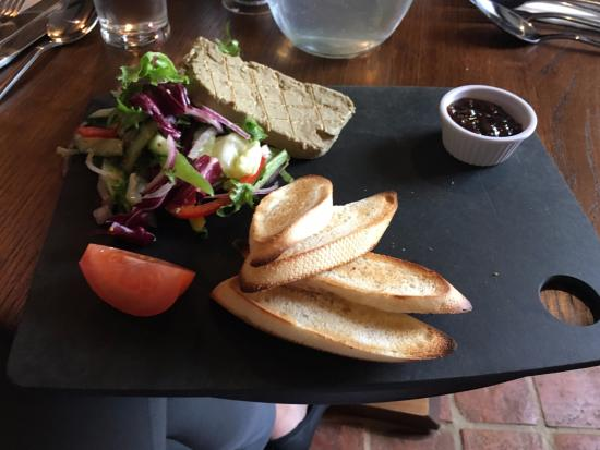 Twyning, UK: Chicken liver parfait with plum & apple chutney & crostini