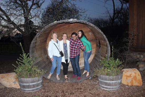 David Fulton Winery: Giant barrel out front for fun pics!