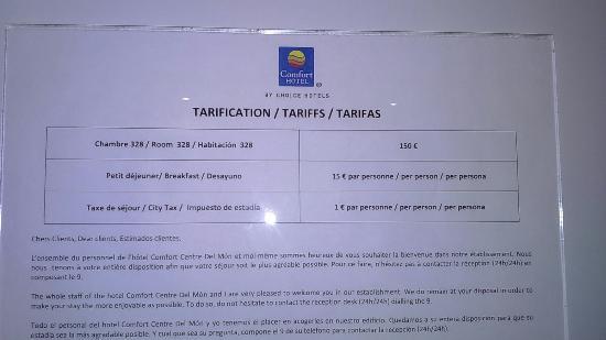 Comfort Hotel Centre Del Mon: Tarifs