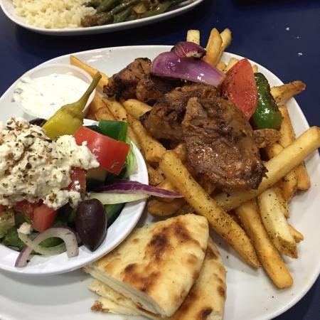 Greek On Cary: Souvlaki plate (lamb)