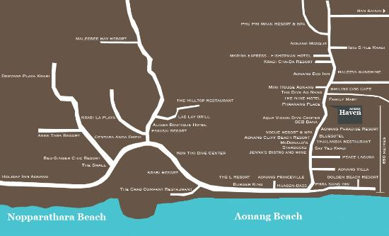 Aonang Haven Guesthouse.Massage.Tea & Gallery: Map of our location 650 metres from the beach.