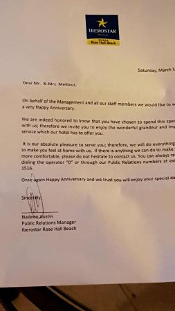 Letter for our anniversary - Picture of Iberostar Rose Hall Beach