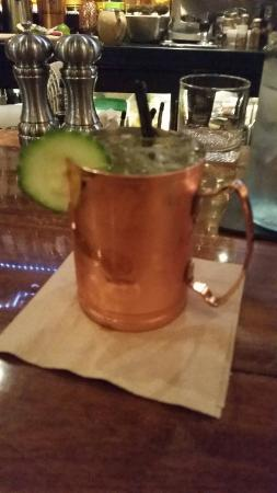 Red Star Tavern: Lillys coy mule - cucumber infused vita's vodka, lime, passion fruit, fever tree ginger beer. Su