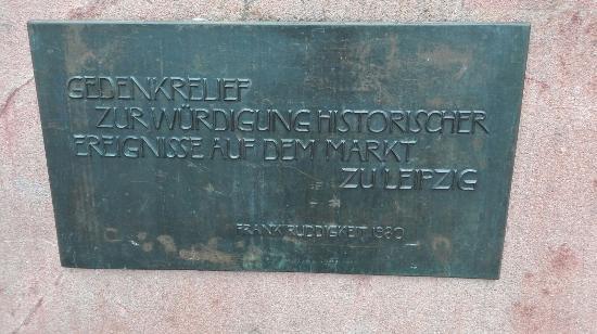 Gedenkrelief zur Wurdigung historischer Ereignisse auf dem Markt zu Leipzig