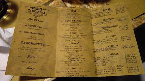 il menu foto di cantina clandestina roma tripadvisor
