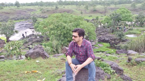 Tincha Fall: On green hills near fall