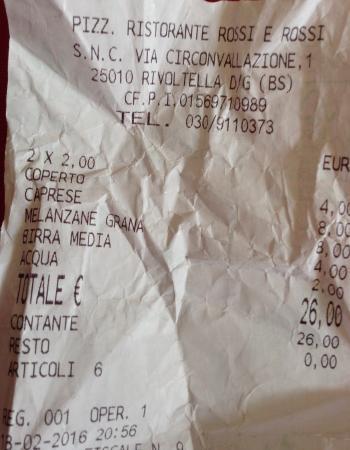 Rivoltella, إيطاليا: Scontrino della prima serata